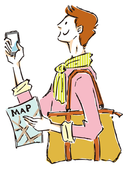 A man with a map and a smartphone
