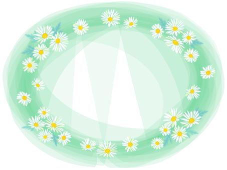 White flower oval frame (mint green)