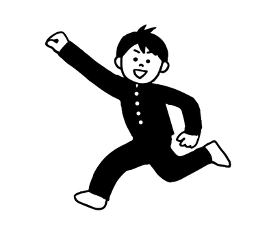 Running school run Men (simple black and white)