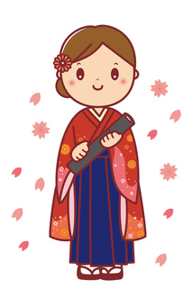 Female college student with hakama with a diploma _ 01