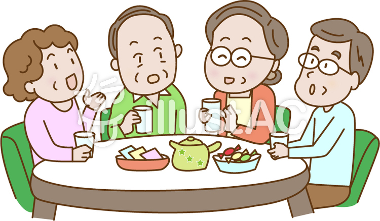 シニアのお茶会イラスト No 688402無料イラストならイラストac