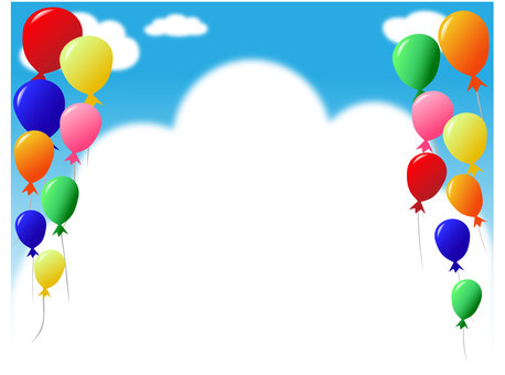 Colorful balloon and white clouds