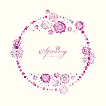 Spring background frame 056 flower water color circle