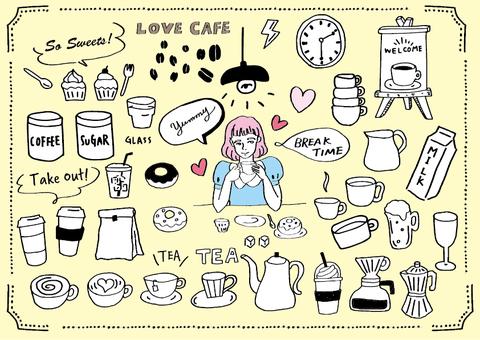 カフェイラストセット01