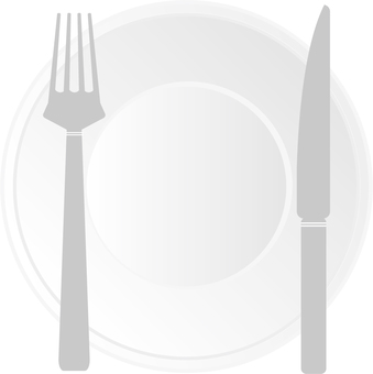 Plate and fork and knife 02
