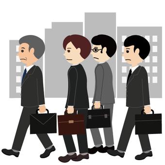걷고있는 비즈니스 맨들