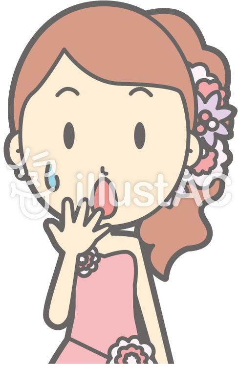 新婦ピンク-心配-バストのイラスト