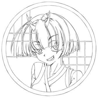 Maki Kashima, smiling from a wolf (line drawing)