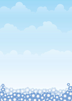 Nemophila, sky, background, A4 vertical, with paint
