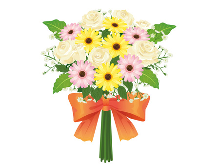 Bouquet of white roses and gerbera Arrangement 06