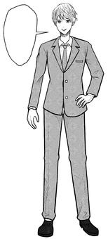 Cartoon speech bubble man suit