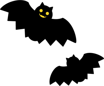 Two bats (eye is yellow)
