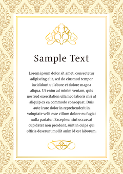 Simple frame of gold and white damask pattern