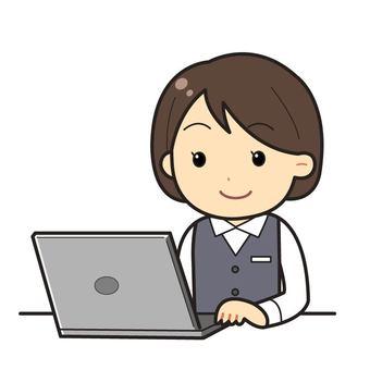 Female, uniforms, laptop