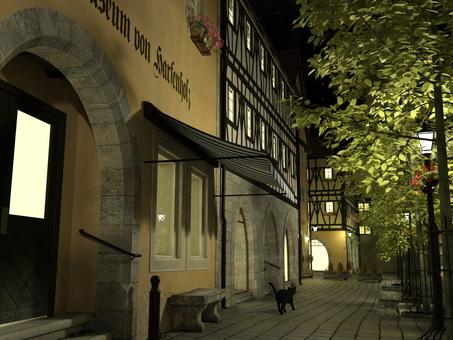 夜の街と黒猫 : 中世建築風