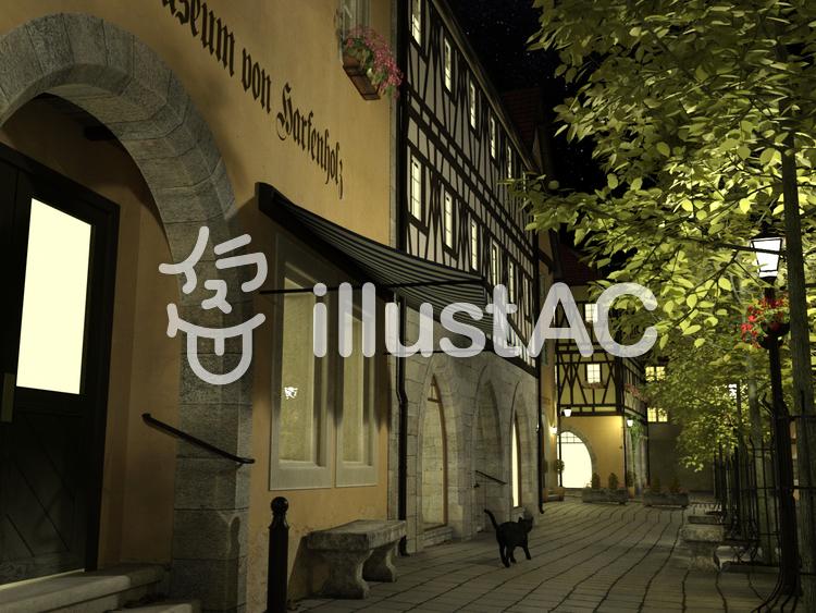 夜の街と黒猫 : 中世建築風のイラスト
