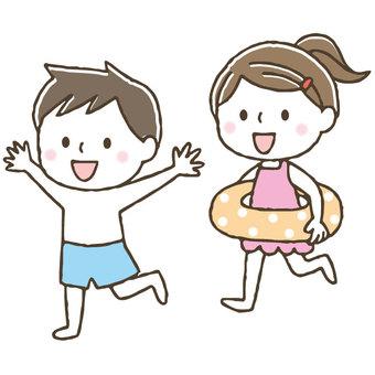 かわいい水着の子どもたち/手描き