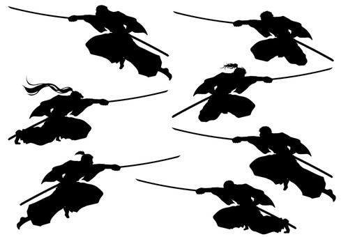 Samurai silhouette action illustration