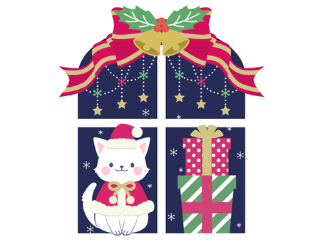 【Christmas】 Cat and gifts on the window side