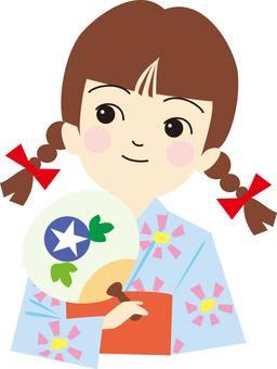Yukata, woman, girl, festival, fans
