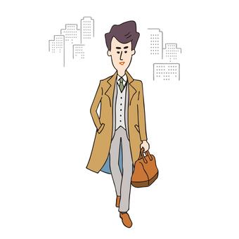 コートを着た男性