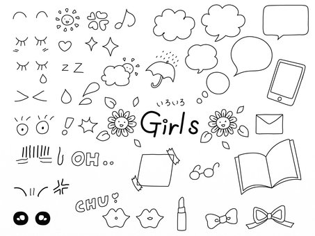 Girly icons and speech bubbles