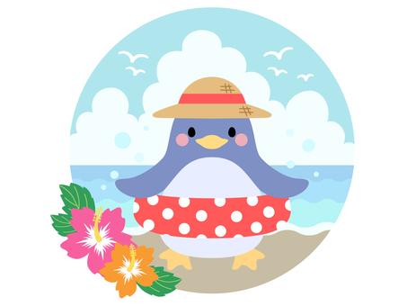 [Summer] Penguin illustration material