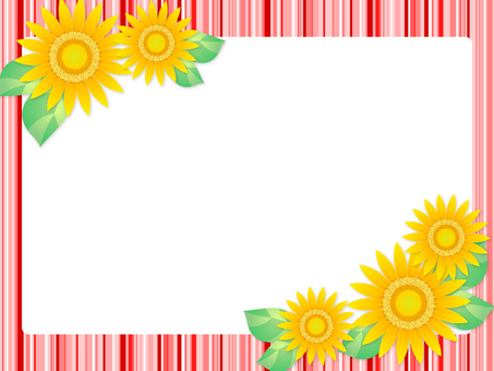 Sunflower and stripe frame (red)