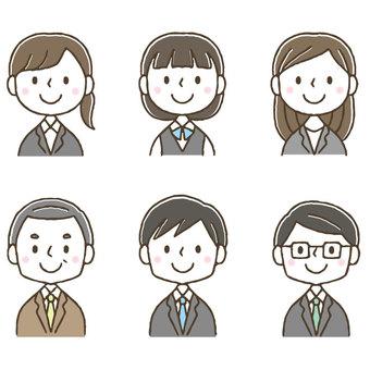 かわいい会社員ビジネスマンセット/手描き