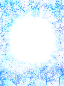 Winter Tree and Sky / Long / Snowflake / Blue