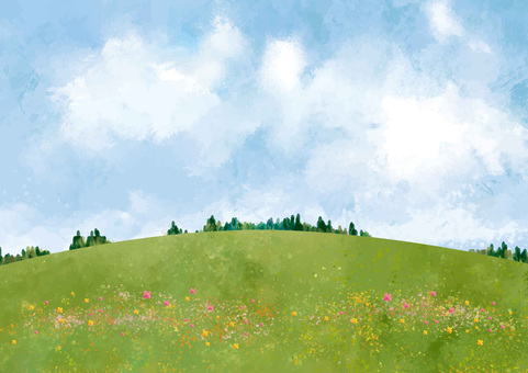Hill and forest watercolor style