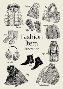 冬のファッションアイテムのイラスト