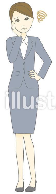 D女性スーツ-困った-全身のイラスト