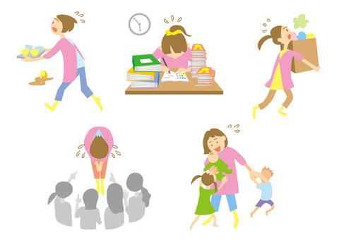 Busy childcare professional caregiver set