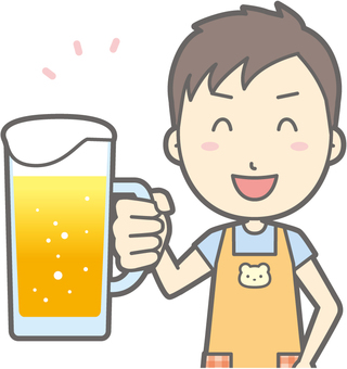Nursery teacher - beer smile - bust