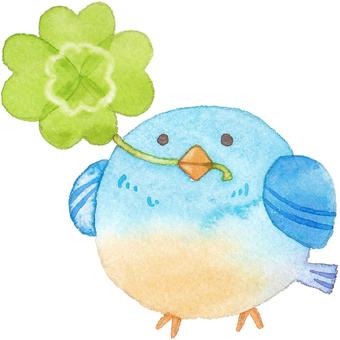 A bird with a four-leaf clover bar facing left