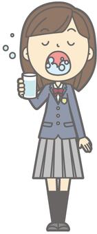 School girl high school winter - rattle gargle - whole body
