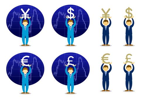 Businessman lifting currency symbol
