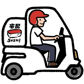 Illustration of home delivery sushi bike