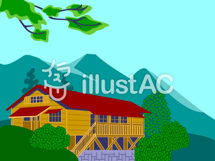 山小屋のイラスト