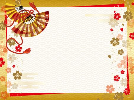 일본식 디자인 배경 (금 · 부채 · 종이)