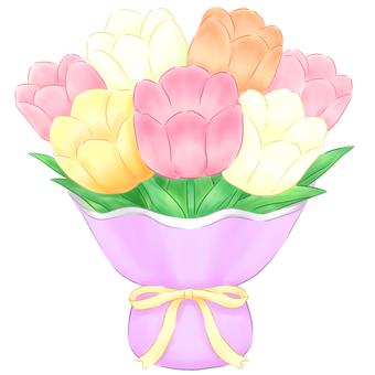 パステルチューリップの花束