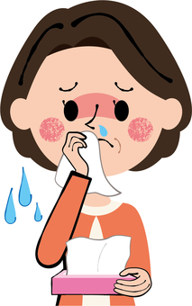 Middle age woman wiping his nose with tissue Tender cold rhinitis Runny nose