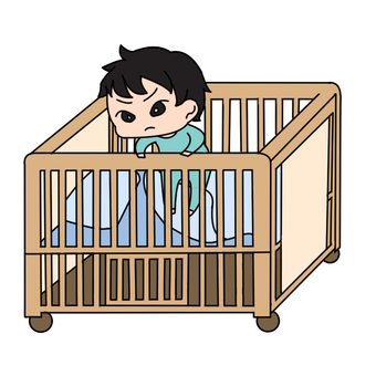 Baby trying to get over the bed fence