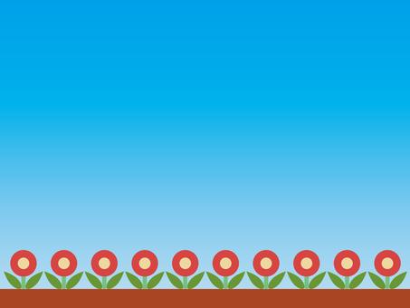 꽃 꽃밭 푸른 하늘 02