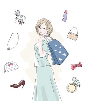 女性とショッピング
