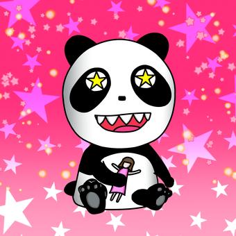 Glitter panda sitting pink VER