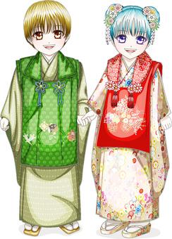 兩個面帶笑容的孩子看事件Shichigosan 3