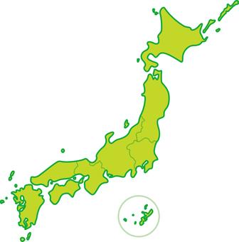 Japan map eight regional classification