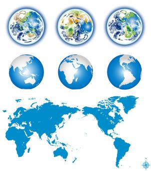 地球 世界地図 アイコン セット